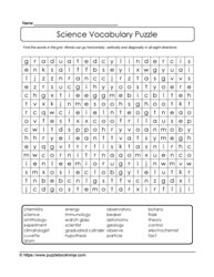Word Search Science Vocab
